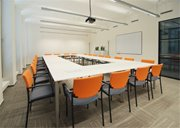 Our new spacious meeting room, designed to host meetings of up to 25 people. Comfortable chairs and hi-end presentation equipment help us get the best out of each meeting.