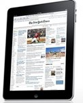 Front view of the iPad 2 displaying The New York Times