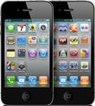 Front view of the iPhone 4 with different sets of app icons