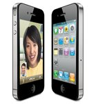 Side angle view of the iPhone 4, left with video chat, right with app icons