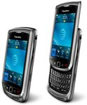 Side angle view of the BlackBerry Torch 9800 with slider keyboard both closed and open