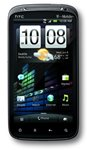 Front view of the HTC Sensation with home screen displayed